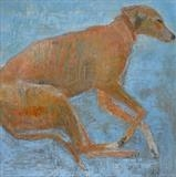 Sleepy Red Lurcher by Anna Wilson-Patterson, Painting, Oil on Wood
