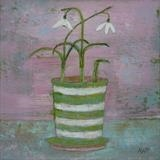 Snaky Snowdrops In Striped Pot by Anna Wilson-Patterson, Painting, Oil on Board