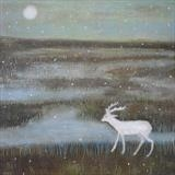 Snow Deer by Anna Wilson-Patterson, Painting, Oil on Wood