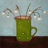 Snowbells In Spotty Green Jug by Anna Wilson-Patterson, Painting, Oil on Board