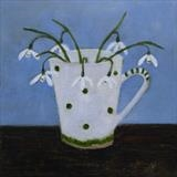 Snowdrops Against A Blue Sky by Anna Wilson-Patterson, Painting, Oil on Wood