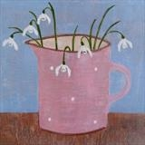 Snowdrops In A Pink Gopsall Jug by Anna Wilson-Patterson, Painting, Oil on Wood