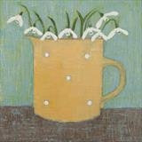 Snowdrops In A Yellow Gopsall Jug by Anna Wilson-Patterson, Painting, Oil on Wood