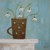 Snowdrops In Brown Mug by Anna Wilson-Patterson, Painting, Oil on panel