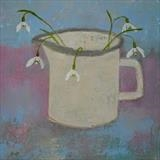 Snowdrops In Enamel Jug by Anna Wilson-Patterson, Painting, Oil on panel
