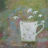 Snowdrops In Spotty Mug by Anna Wilson-Patterson, Painting, Oil on panel