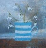 Snowdrops In Striped Mug by Anna Wilson-Patterson, Painting, Oil on Board