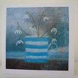 Snowdrops In Striped Mug Card by Anna Wilson-Patterson, Painting, Ink on Paper