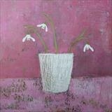 Snowdrops In The Red Room by Anna Wilson-Patterson, Painting, Oil on Wood