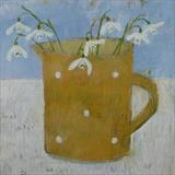 Snowdrops In Yellow Gopsall Jug by Anna Wilson-Patterson, Painting, Oil on Wood