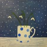 Snowdrops On Blue by Anna Wilson-Patterson, Painting, Oil on panel