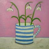 Snowdrops On Pink by Anna Wilson-Patterson, Painting, Oil on panel