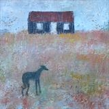 Speckled Greyhound At Rye Harbour by Anna Wilson-Patterson, Painting, Oil on Wood