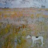 Spotty Greyhound At Nature Reserve Card by Anna Wilson-Patterson, Painting, Ink on Paper