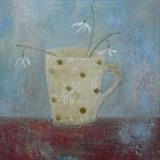 Three Snowdrops In Spotty Mug by Anna Wilson-Patterson, Painting, Oil on Board