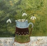 Three Snowdrops In Striped Jug by Anna Wilson-Patterson, Painting, Oil on panel