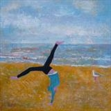 Upside Down At Camber Sands by Anna Wilson-Patterson, Painting, Oil on Wood