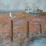 Welcome Gull and Boats by Anna Wilson-Patterson, Painting, Oil on Wood