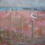 Welcome Gulls by Anna Wilson-Patterson, Painting, Oil on Wood
