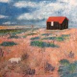 Westie At The Red Hut by Anna Wilson-Patterson, Painting, Oil on Wood