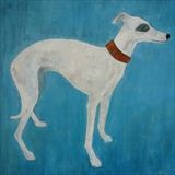 Whippet Wonder by Anna Wilson-Patterson, Painting, Oil on Wood