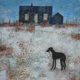 Whippet at Dungeness by Anna Wilson-Patterson, Painting, Oil on Wood