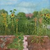 Winchelsea Allotment Sunflowers by Anna Wilson-Patterson, Painting, Oil on Wood