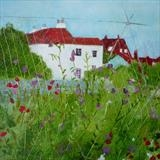 Winchelsea Allotment Sweet Peas by Anna Wilson-Patterson, Painting, Oil on Wood