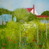 Winchelsea Allotments August by Anna Wilson-Patterson, Painting, Oil on Wood