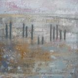 Winchelsea Beach Groynes October by Anna Wilson-Patterson, Painting, Oil on Wood