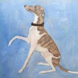 Winsome Whippet by Anna Wilson-Patterson, Painting, Oil on Wood