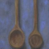 Wooden Spoons On Ultramarine by Anna Wilson-Patterson, Painting, Oil on Board