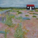 Yellow Poppies At The Red Hut by Anna Wilson-Patterson, Painting, Oil on Wood